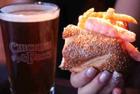 The Magooby sandwich and Crabbie ale at Chickie's & Pete's in the Tropicana