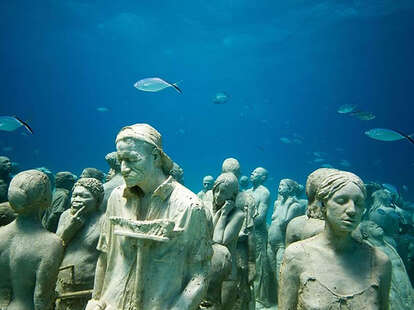undersea sculptures and fish