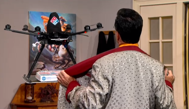 Stephen Colbert attempts to seduce the Dominos pizza drone, fails miserably