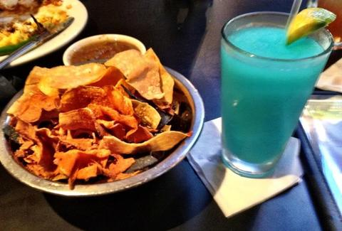 Chips and dip and a blue marg at Blue Mesa