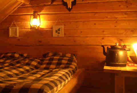 interior of swedish cabin in the woods