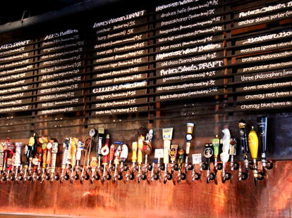The wall of taps at Golden Gate Tap Room