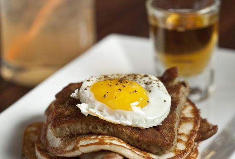 Fried egg and pancakes