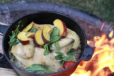 Peach Chicken cooking