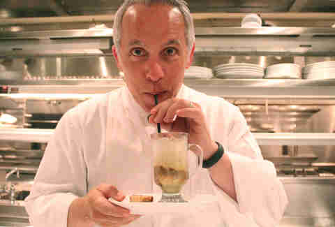 Iron Chef and Chopped judge Geoffrey Zakarian sips an affogato at the Lambs Club