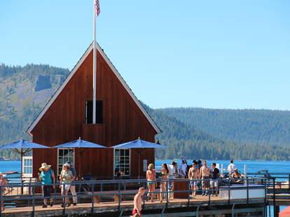 An outdoor bar on Lake Tahoe