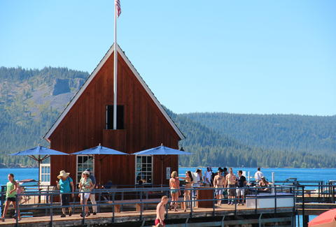 An outdoor bar on Lake Tahoe