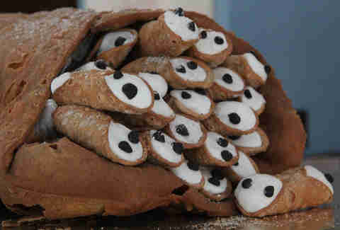 The cannoli stuffed cannoli at Potito's Bakery