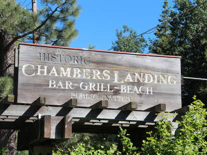 The sign for Chambers Landing Bar and Grill