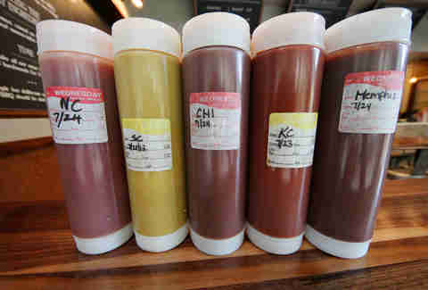Regional BBQ sauces at Blackwood BBQ in the Loop