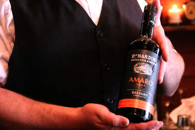 A bottle of Nardini Amaro behind the bar at The Farmer's Cabinet