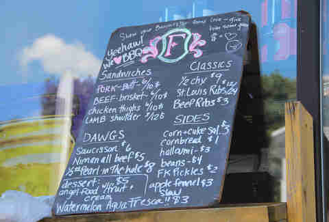 Menu board at Formaggio Kitchen's Saturday BBQ Pop-Up