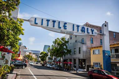 little italy entrance sign san diego neighborhood