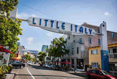 little italy entrance sign san diego neighborhood
