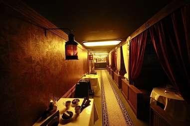 The interior of Modern Man's train bar.