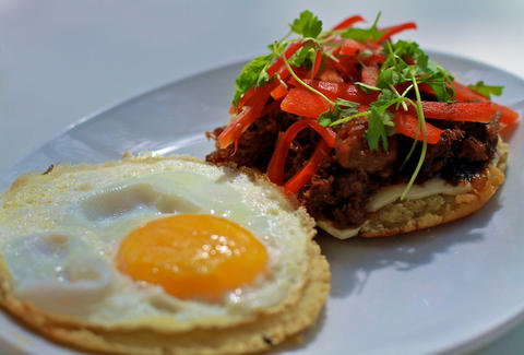 Egg & short rib arepa at Bloom in Miami, FL