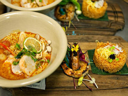 Soup, lobster, & crispy noodles with crab at Khong River House in Miami, FL