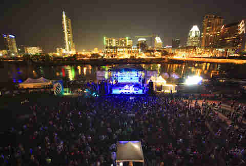 SXSW show with skyline in background