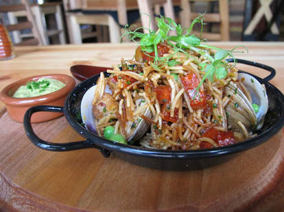 Noodles with clams and tomatoes at Barceloneta in Miami, FL