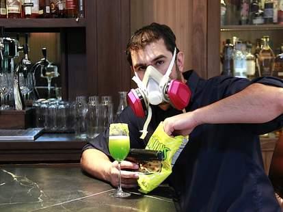 David Shenaut drinks a Breaking Bad cocktail at Raven & Rose.