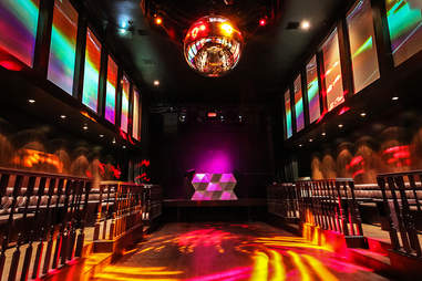 The largest disco ball on the West coast at Bang Bang in the Gaslamp District San Diego.