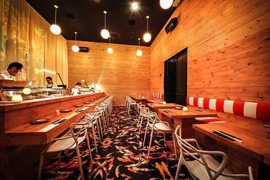 The sushi room at Bang Bang in the Gaslamp District San Diego.