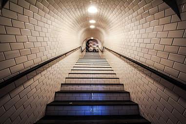 The Tokyo subway tunnel entrance at Bang Bang in the Gaslamp District San Diego.
