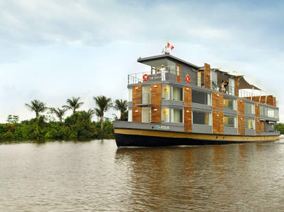 Floating hotel on the Amazon river