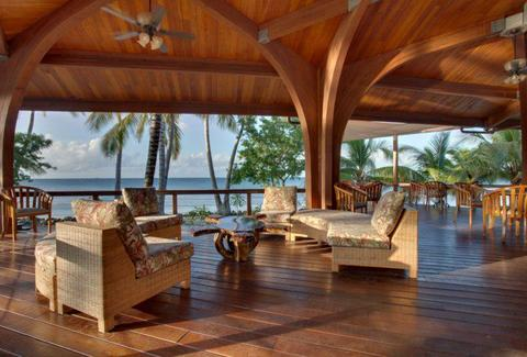 Patio at Hatchet Caye Resort