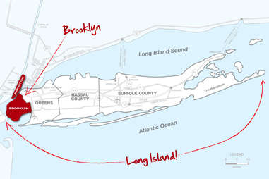 Manhattan, Brooklyn, Long Island map