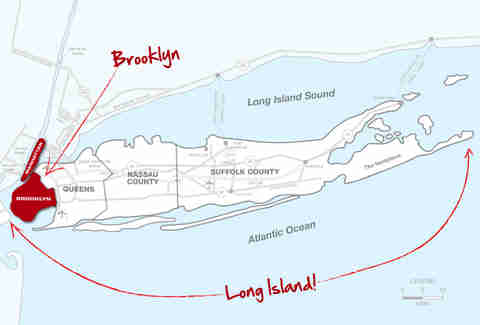 Manhattan, Brooklyn, Long Island map