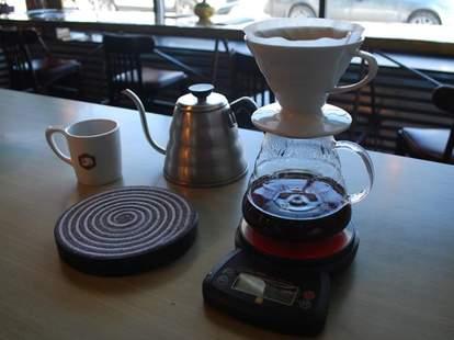 Coffee setup at Angry Catfish