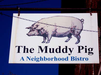 The sign at The Muddy Pig