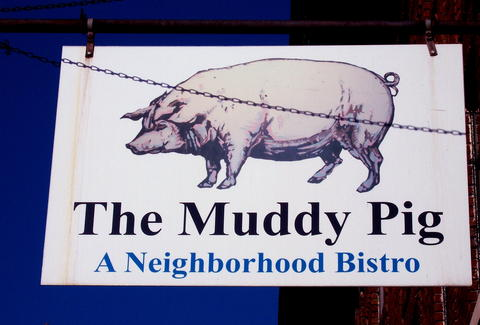 The sign at The Muddy Pig