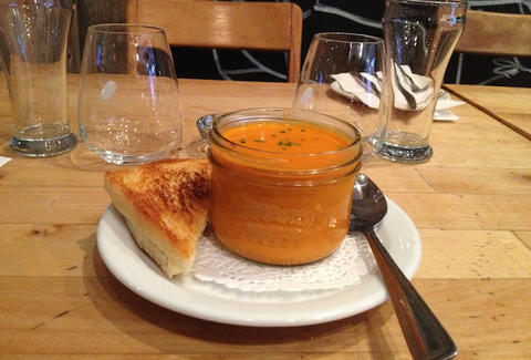 Tomato soup & grilled cheese at Les Enfants Terribles in Montreal