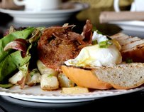 Toast, eggs, bacon, and breakfast potatoes at Grandma J's Local Kitchen in Chicago.