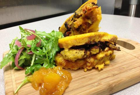 Cornmeal tempura battered sourdough sandwich