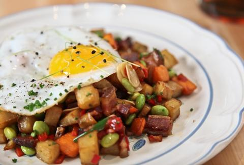 Hash of Japanese & American sweet potatoes with a fried duck egg.