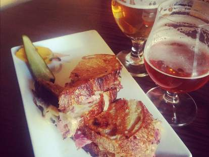 A sandwich and beer and The Trappist