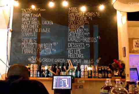 Grand Electric Toronto chalkboard menu