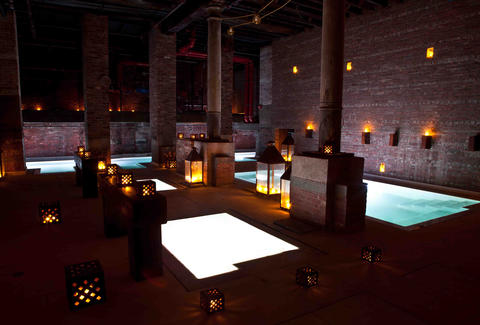 bathhouse pools with lanterns