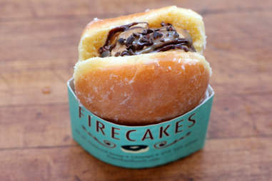 Ice cream donut sandwich at Firecakes in River North