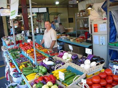 Vegetable stand at Atwater Market in Montreal