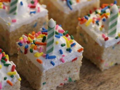 Birthday cake crispy rice cake from Treat House - NYC