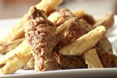 Chicken & jojos at Fryer Tuck's.