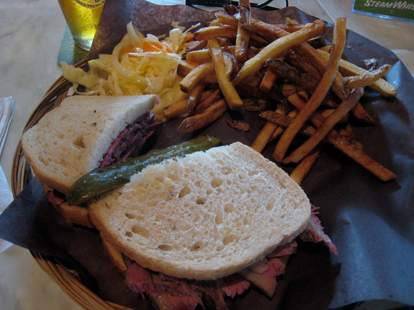 Deli sandwich and fries
