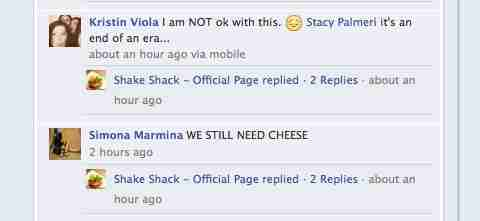 Shake Shack fresh fries Facebook response