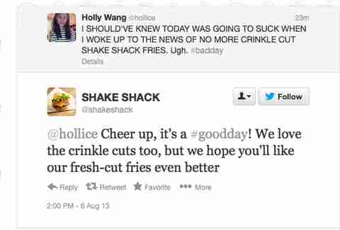 Shake Shack fresh fries Twitter reply