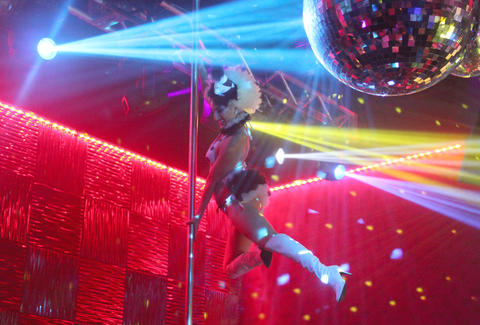 A dancer on a pole at Haven nightclub at Golden Nugget in Atlantic City