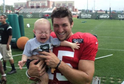 Tim Tebow crying baby